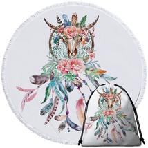 Floral Bull Skull and Dream Catcher Beach Towel - $12.32+