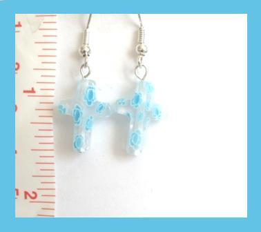 Blue, White, & Clear Millefiori Cross Earrings