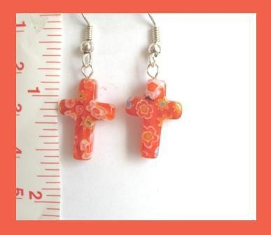 Red Millefiori Cross Earrings