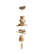 Wood and Ceramic Owl Wind Chime - £22.90 GBP