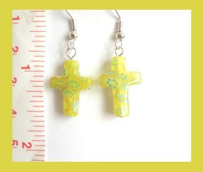 Yellow Millefiori Cross Earrings