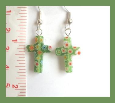 Green Millefiori Cross Earrings