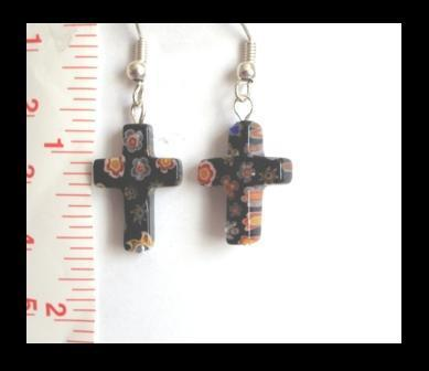 Black Millefiori Cross Earrings