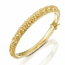 14k Gold Bangle Bracelet Real Heavy 13.2g In Rough Finish Elegant Birthd... - $814.80