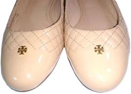 Tory Burch Kent Ballerina Flats Beige Nude Logo Reva Leather Ballet Shoe 10 - $136.00