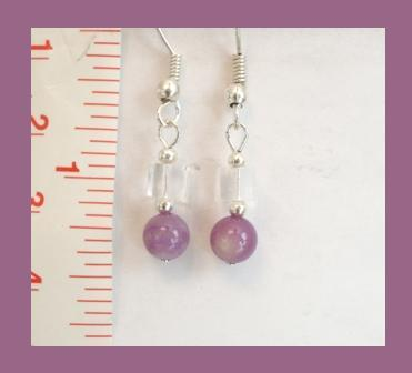 Petite Purple Mother of Pearl & Clear Cube Earrings