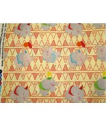 David Textiles  Elephants with Red Flags on Cream Cotton Fabric - $9.95