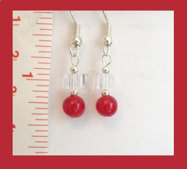 Petite Red Jade & Clear Cube Earrings