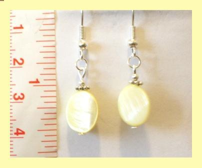 Yellow Oval Mother of Pearl Shell Earrings