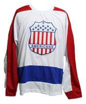 Custom Name # New York Americans Retro Hockey Jersey New White Any Size image 1