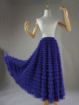 Women High Waist Tiered Tulle Skirt Polka Dot Champagne Maxi Tutu Skirt US0-US24 image 13