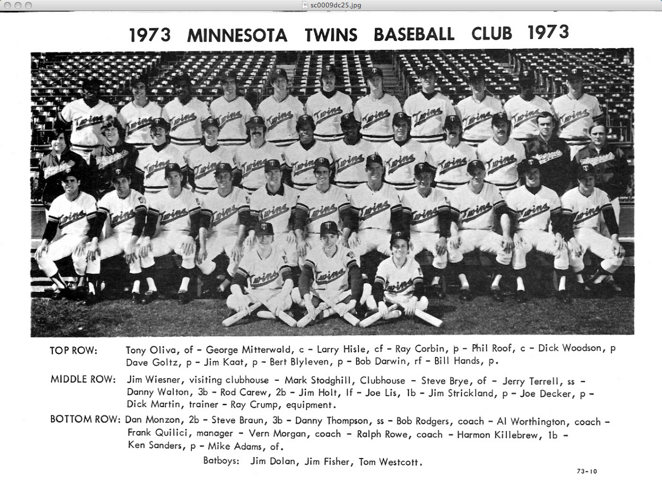 1973 Minnesota Twins Team Photo