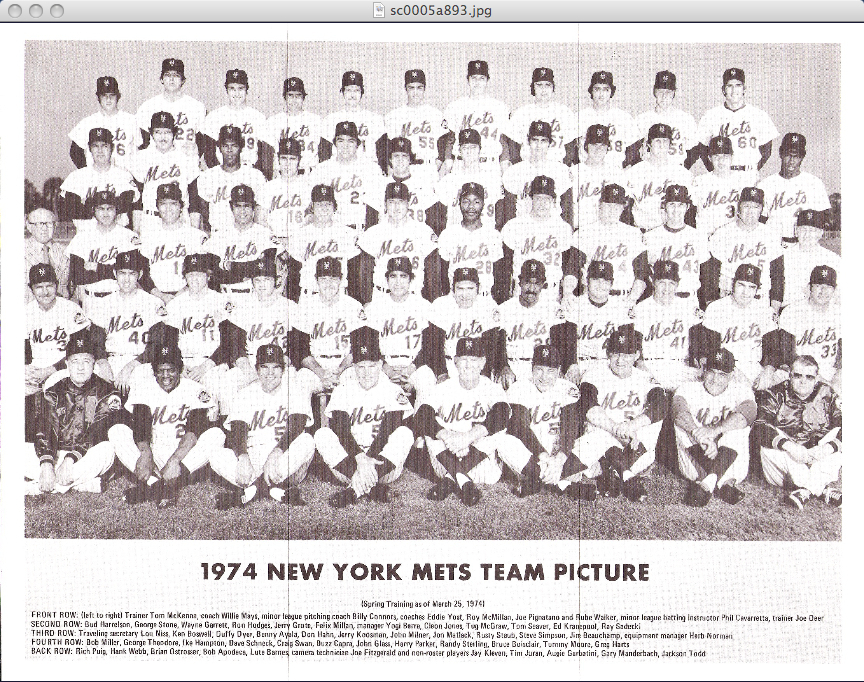 1974 New York Mets Team Photo