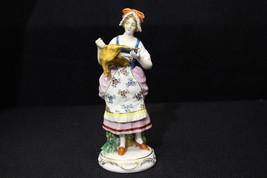 """Vintage Hand Painted Sitzendorf Porcelain WOMAN w/CHICKEN 8"""" Figurine, G... - $79.99"""