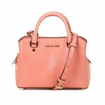 NWT Authentic Michael Kors Savannah Sm. Satchel Leather Handbag 30S6GS7S1A PEACH - $166.32