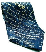 Museum Artifacts Mortgage Deed Lending Documents Writing Novelty Silk Tie - $16.83