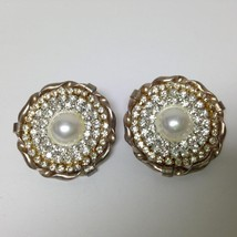 Vintage, Rare 1950s Gold Tone, Paved Rhinestone  with Pearl Clip Earrings - $5.65