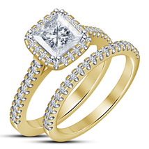 Princess Cut Diamond Womens Bridal Ring Set 14k Gold Finish 925 Sterling... - $87.99