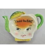 Vintage I Hold The Bag  Ceramic Teapot Tea Bag Holder Caddy - $4.99