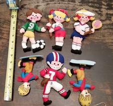 1977 Six Stuffed Sports Themed Christmas Tree Ornaments Original Wrappers - $20.99
