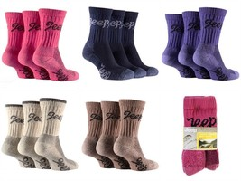 3 pairs  Ladies Jeep Terrain Cushion sole Cotton Hiking Socks 4-7 uk Cerise - £10.91 GBP