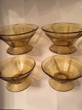 Set of 4 Amber Sherbert Dishes - Art Deco - Dessert - $15.00