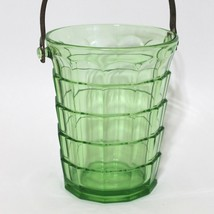 Green Tea Room Pattern Glass Ice Bucket with Handle Depression Indiana Glass Co - $42.66