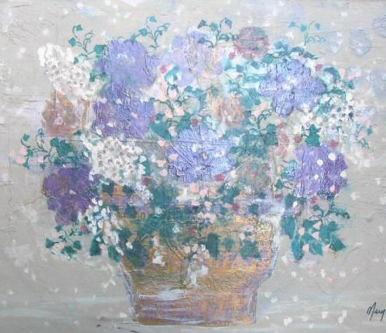 Original Floral Oil Painting Canvas Ornate Framed Signed 48x