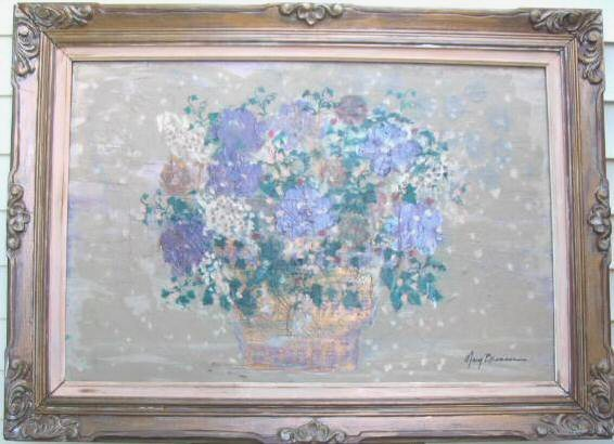 Original Floral Oil Painting Canvas Ornate Framed Signed 48x