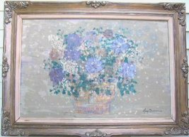 Original Floral Oil Painting Canvas Ornate Framed Signed 48x - $300.00
