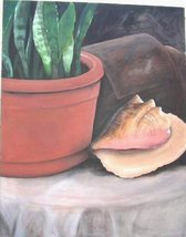 Water Painting on Canvas Unframed Plant Shell 28x32 - $80.00