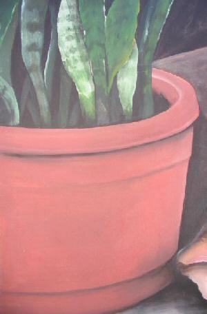 Water Painting on Canvas Unframed Plant Shell 28x32
