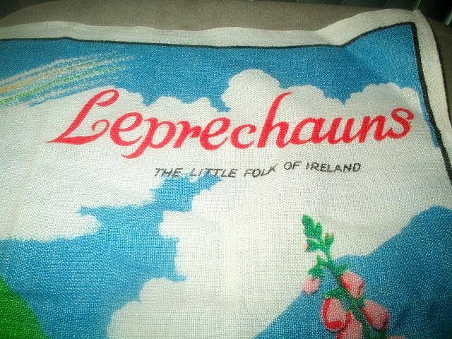 Vintage Irish Leprechauns St. Patrick's Linen Tea Towel Mint
