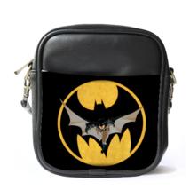 Sling Bag Leather Shoulder Bag Batman Logo In Beautiful Elegant Black De... - $14.00