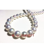 "Australia perfect round AAAAA 17""12-14mm REAL south sea WHITE pearl neck... - $1,565.50"