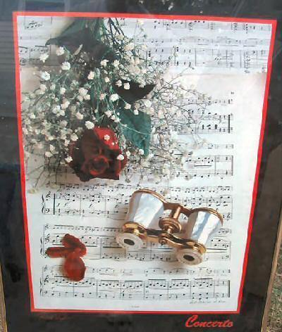 Concerto Framed Art Print Poster Musical Notes Roses