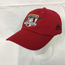 NWT Red ADIDAS ball cap WORLD RECORD Baseball Game Adjustable contoured Hat - $14.85