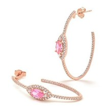 Pink CZ Oval Hoop Earrings Marquise Dainty Inside Out Rose Gold-Flashed Jewelry - $87.61