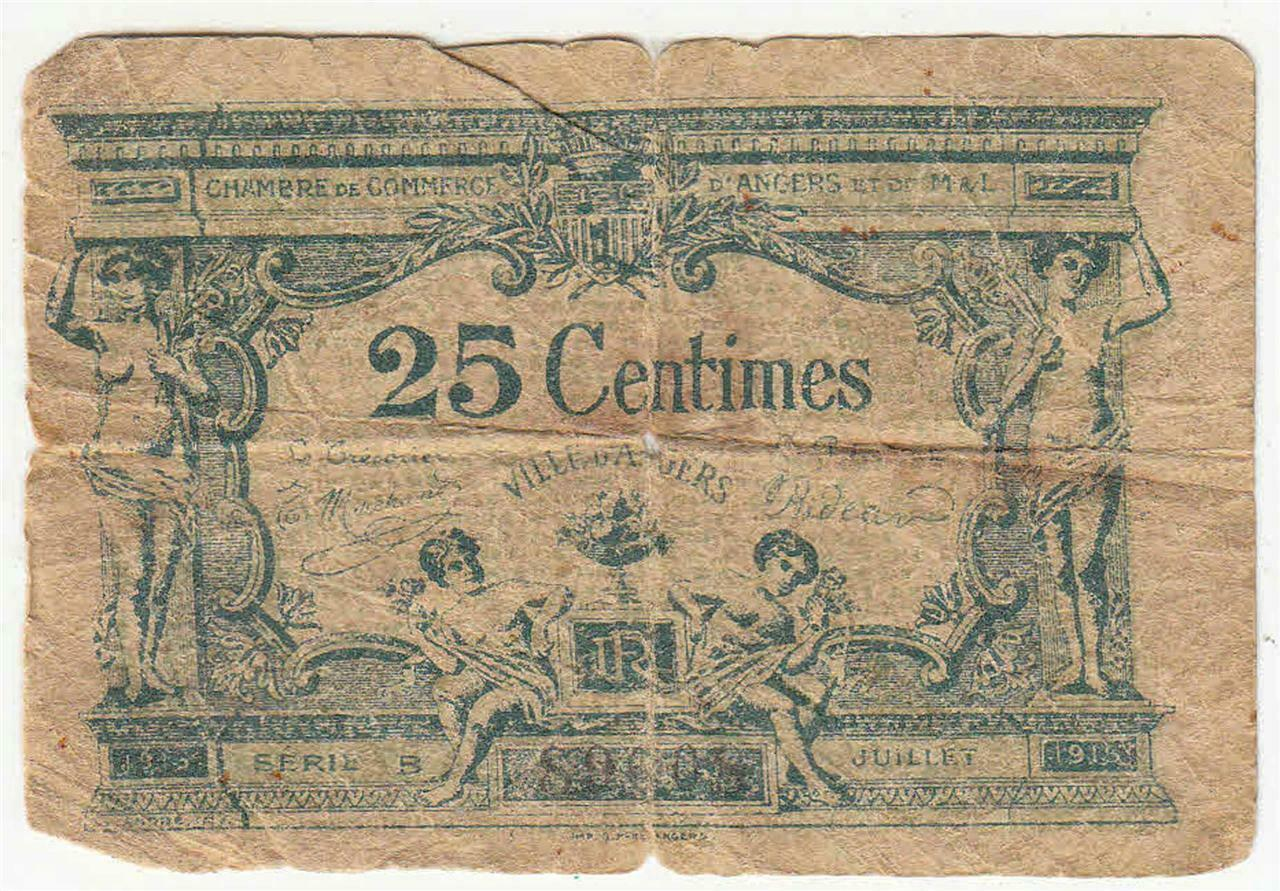 Primary image for Vintage France 25 Centimes Banknote Circulated