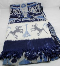 "Bedspread Cover Dye Vintage Single Size Fringed Blue/White Vintage 84"" x... - $44.55"