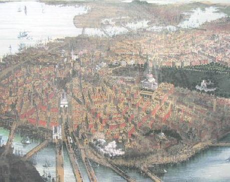 Boston Panoramic Map Birds Eye View Framed Poster Print 1877