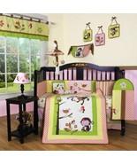 Pink Yellow Monkey 13 pcs Crib Bedding Set Baby Girl Nursery Quilt Bumpe... - $137.51