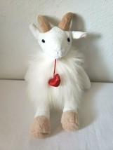 "Aurora Gerald Goat 13"" Plush Stuffed Animal Red Heart Valentine White Fluffy  - $19.78"