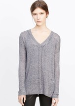NEW Vince Oversized Blue Marled V Neck Ribbed Sweater (Size S) - MSRP $2... - $119.95