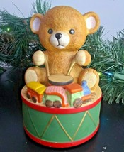 Mann Christmas Music Box Teddy Bear Drums Train VTG No Box Not Revolving - $26.41