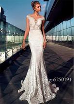 Modern Lace Jewel Neckline Mermaid Wedding Dresses See Through Bodice Illusion B image 3