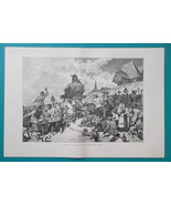 RUSSIA Funeral Festivities in Tver Governorate - 1880s Wood Engraving Print - $25.20
