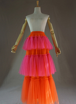 Womens Tiered Party Tulle Skirt Orange Pink Layered Mesh Tulle Party Prom Skirt image 2