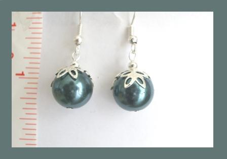 Dark Green Faux Pearl Earrings