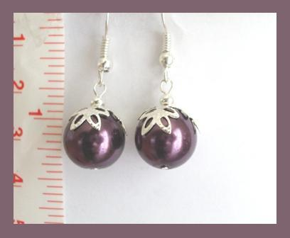 Maroon Faux Pearl Earrings